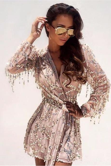 Sexy Women Sequined Long Sleeve Romper in Gold Silver and Black