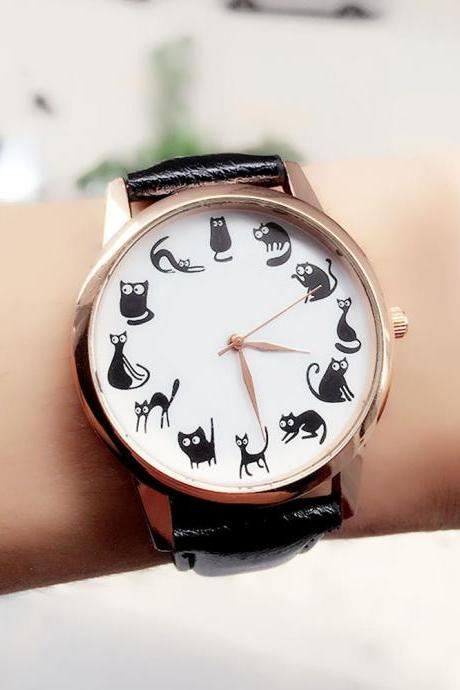 Cute Cat Pattern Watch for Women