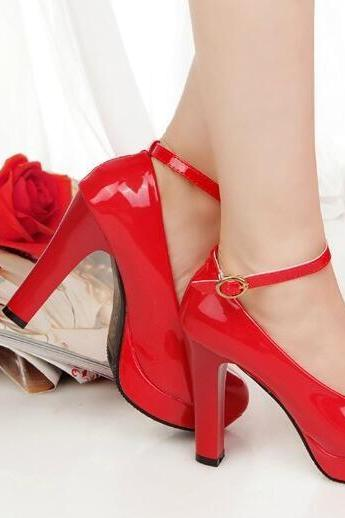 Patent Leather Women Pumps High Heels Shoes