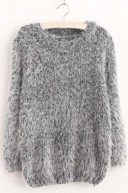 Autumn Winter Warm Mohair O-Neck Women Pullover Long Sleeve Casual Loose Sweater Knitted Tops