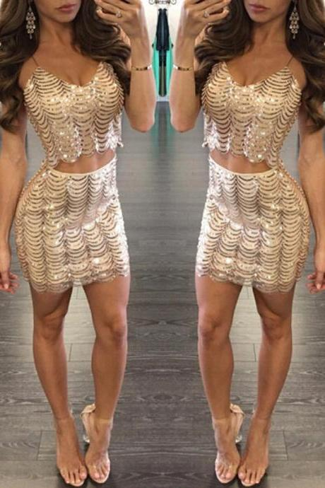 2 Piece Set Sequins Top and Skirt