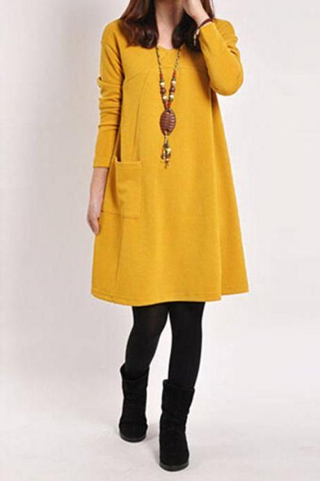 Winter Spring Women Vintage Long Sleeve Pockets Dress Casual