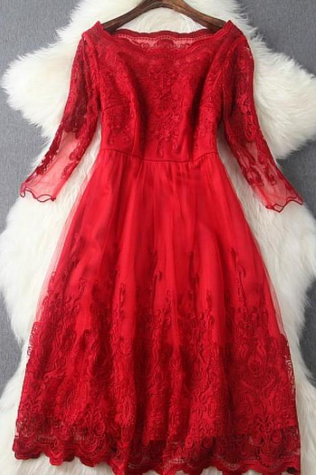 Red Ball Gown Lace Evening Dress