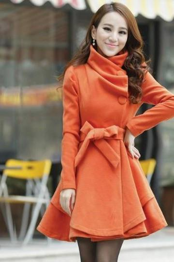 Orange Woolen Winter Coat