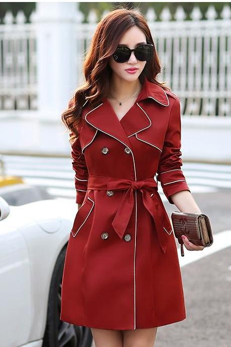 Double Breasted Red Slim Trench Coat For Women