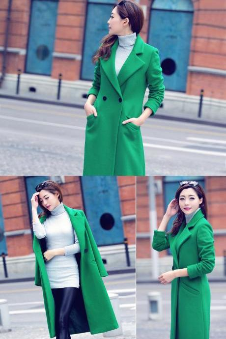 Classy Slim Long Woolen Coat for Women