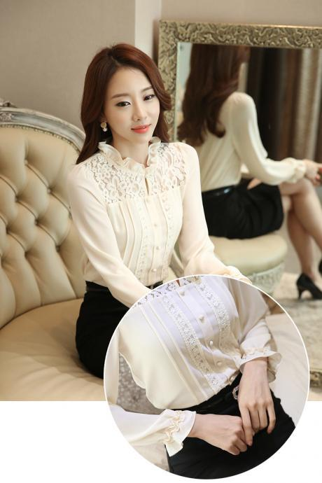 Elegant Long Sleeve Chiffon Blouse