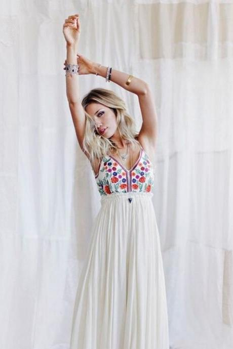 Sexy Halter Summer Casual Long Dress Floral Printed