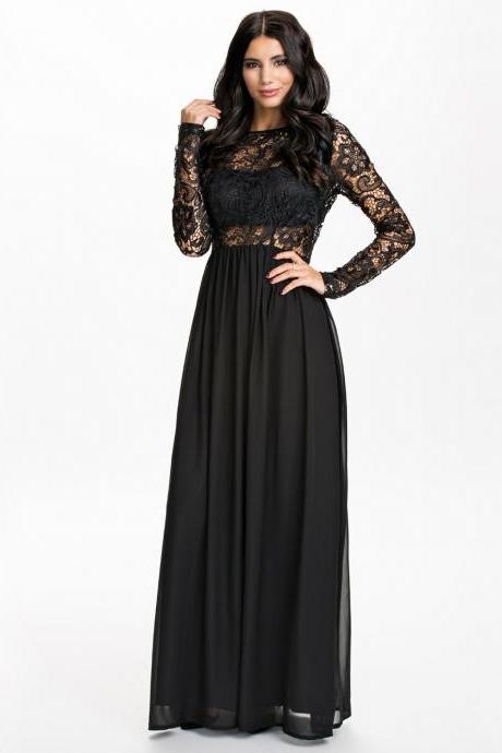 Long Sleeve Chiffon and Lace Red and Black Long Dress