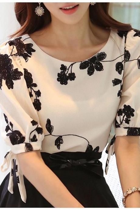 Embroidered White Slim Chiffon Blouse