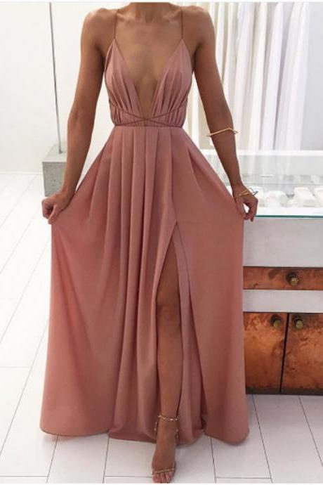 Pink Cross Back Long Party Dress