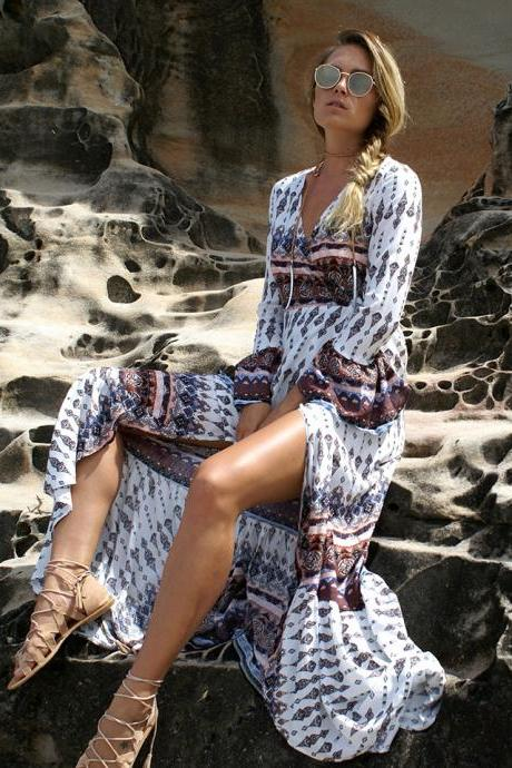 Chic Long Sleeve Bohemian Long Dress