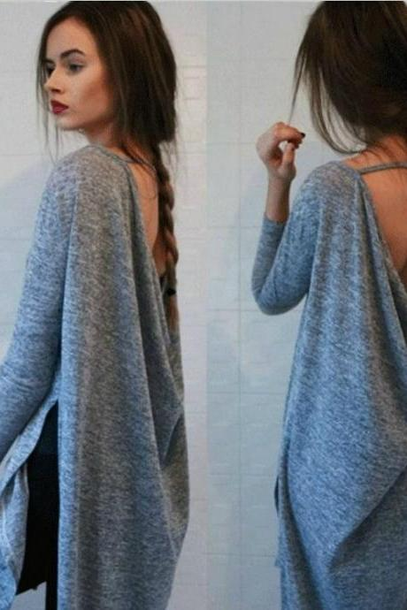 Stylish Long Sleeve Grey Top