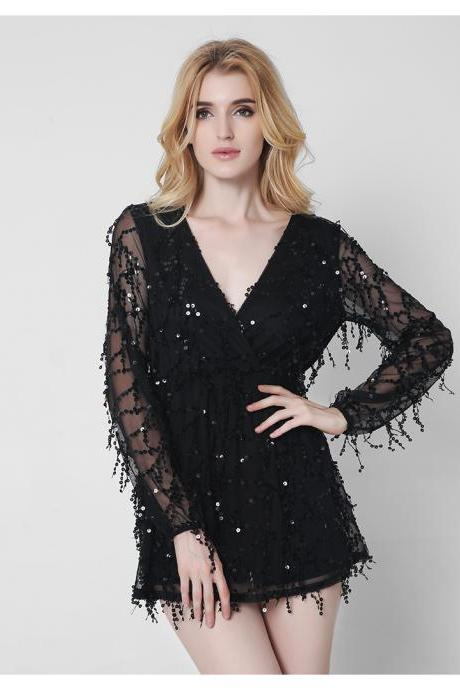 Black Sexy V Neck Sequined Romper