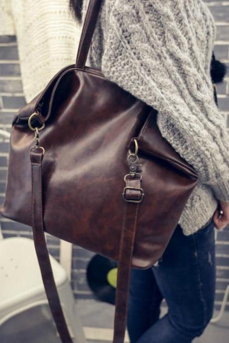 Vintage Design Leather Casual Handbag in Black and Brown