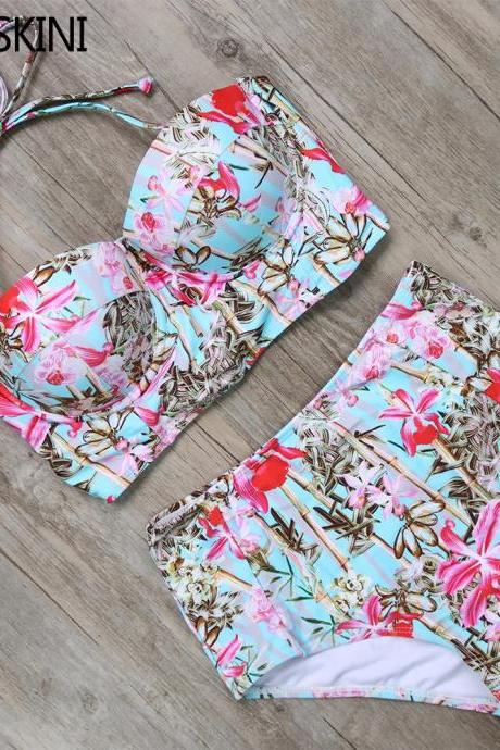 High Waist Printed Vintage Style Swimsuit