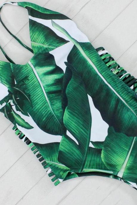 Green Leaf Print One Piece Swimsuit