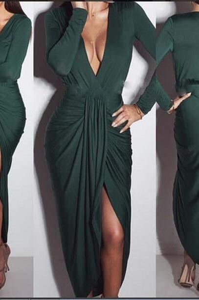 Sexy Deep V Neck Long Sleeve Dresses