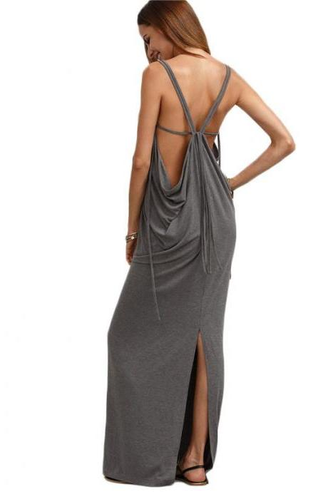 Grey V Neck Summer Women Sleeveless Maxi Dress
