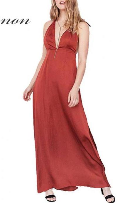 Satin Plunge V Tie-Neck Maxi Dress Featuring Open Back and Slit