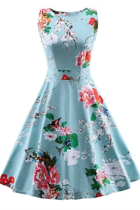 Women Retro Vintage Rockabilly Floral Swing Summer Dress