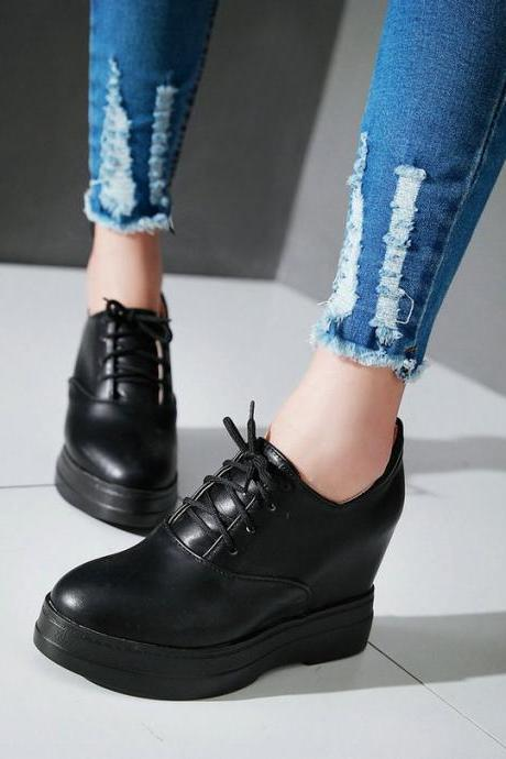 Classy Lace up Wedge Shoes