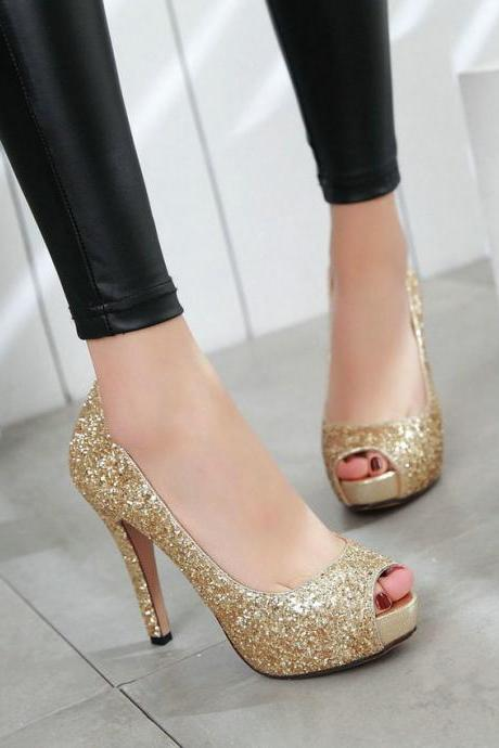 Sexy Gold Peep Toe High heels Fashion Sandals
