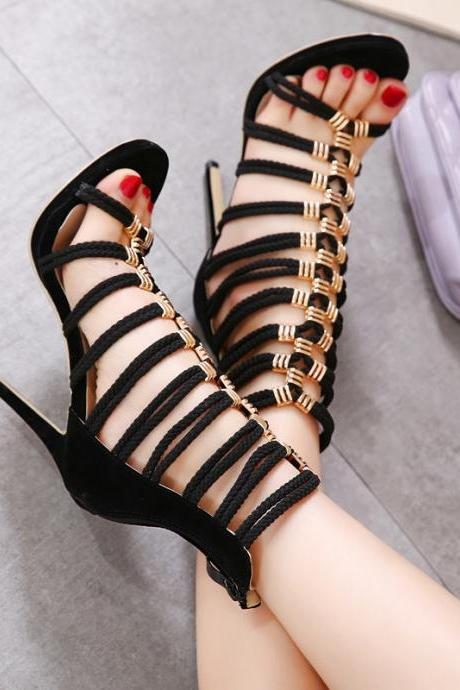 Black Lace up High Heels Fashion Sandals