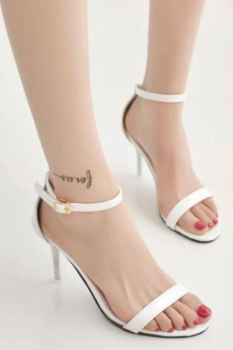 White Faux Leather Ankle Strap High Heel Sandals