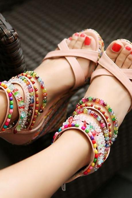 Beaded Boho Wedge Sandals
