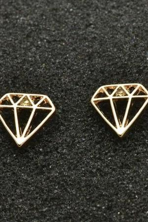 Cute Gold and Silver Diamond Stud Earrings