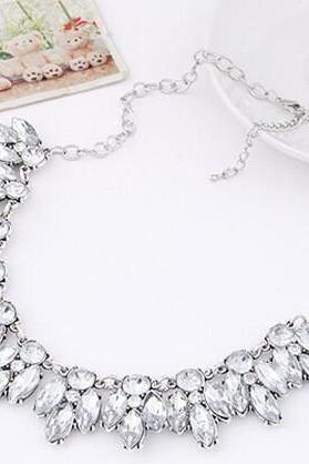Crystal Beaded Statement Necklace in Gold or Silver