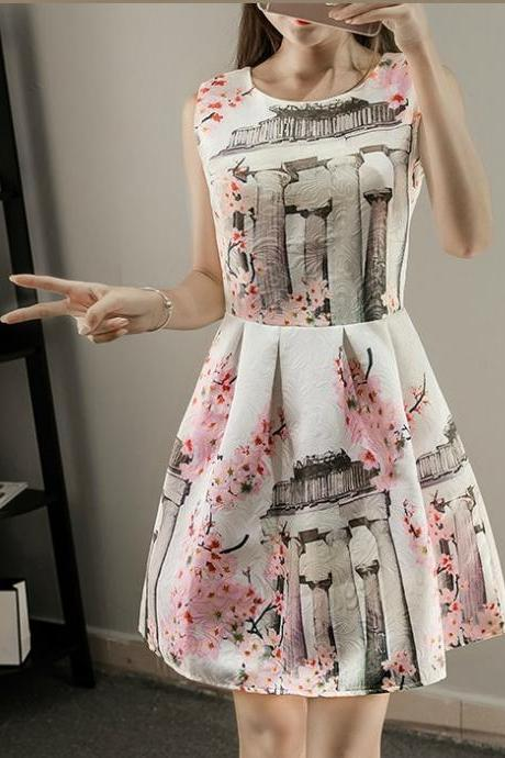 Cherry Blossom Printed Sleeveless Spring and Summer Dress