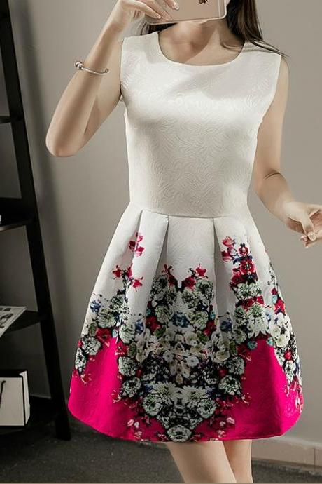 Sleeveless A Line Printed Cute Summer Dress