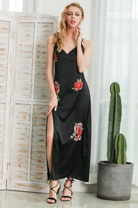 Floral Embroidered Satin Plunge V Maxi Dress Featuring High Slit
