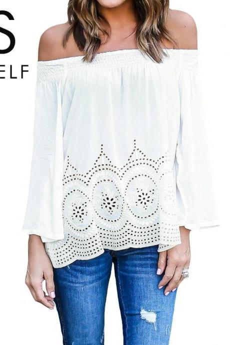 White Crochet Lace Off-The-Shoulder Long Sleeved Blouse