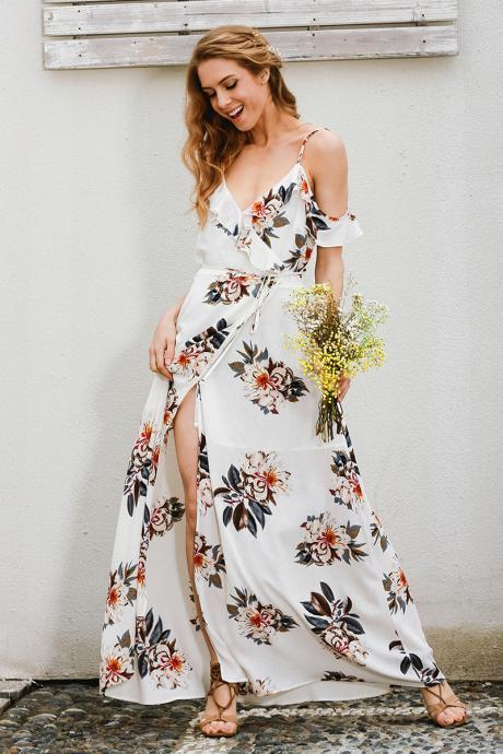 V Neck Floral print Chiffon Long Summer Dress