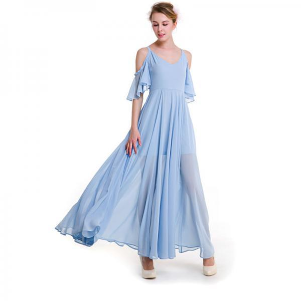 Off Shoulder V neck Chiffon Goddess Maxi Dress
