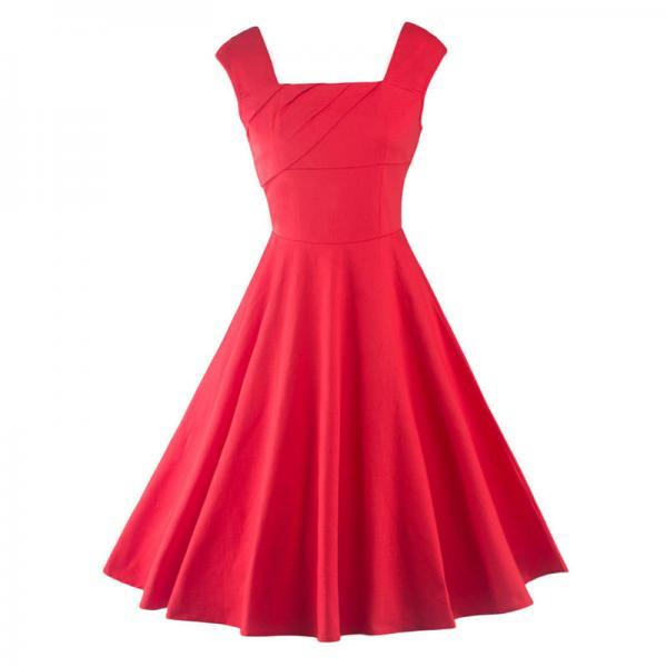 Summer Retro Vintage Red Party Dress