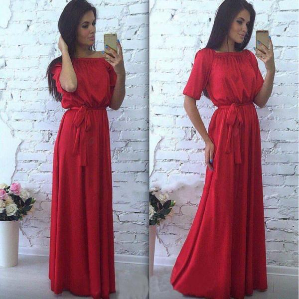 Classy Red Off Shoulder Long Dress