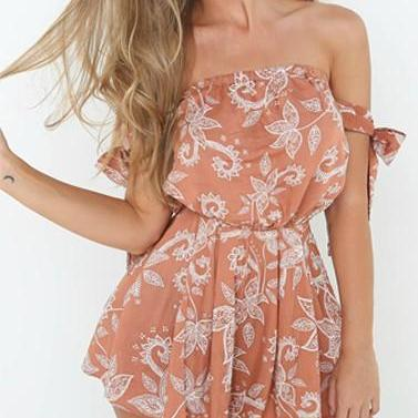 Off Shoulder Boho Floral Print Romper
