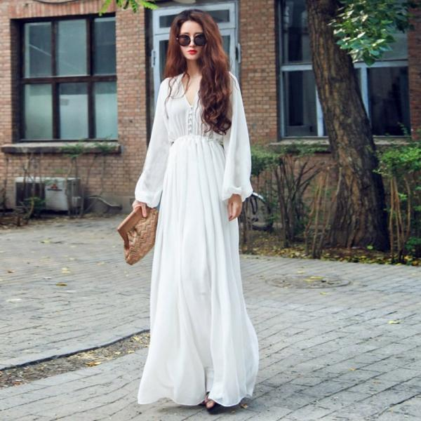 Solid White Long Sleeve Party Long Maxi Dress