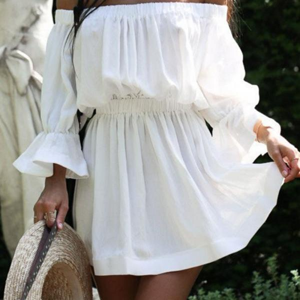 Off Shoulder White Flare Sleeve Summer Dress