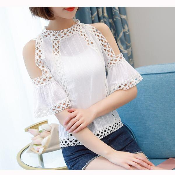 White Off Shoulder Flare Sleeve Lace Blouse