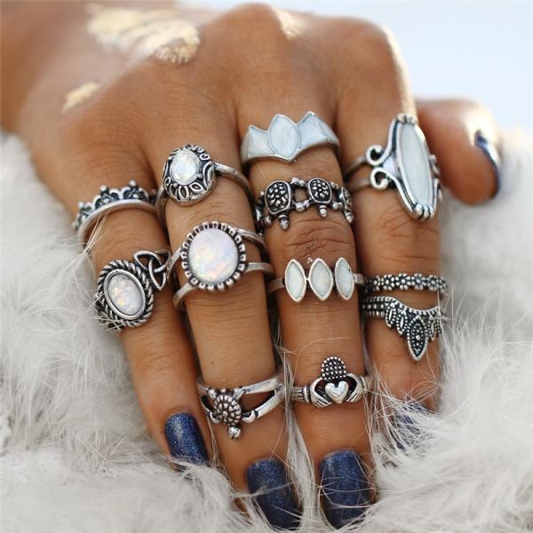 12 Pieces Boho Crystal Ring Set