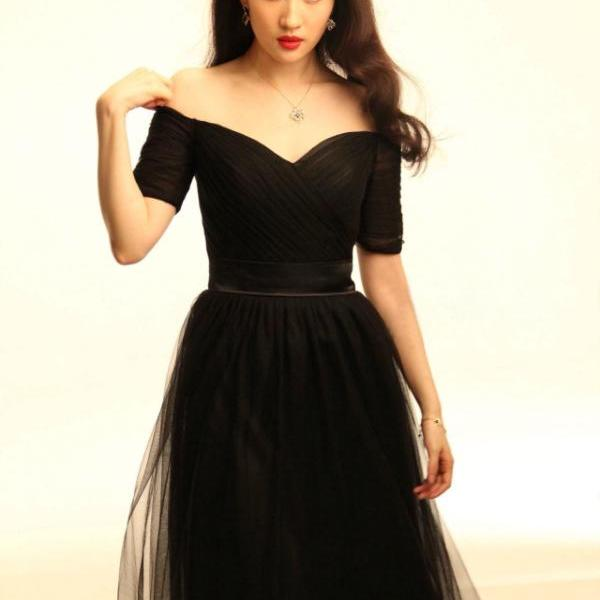 Classy Sexy Off Shoulder Black Evening Party Dress