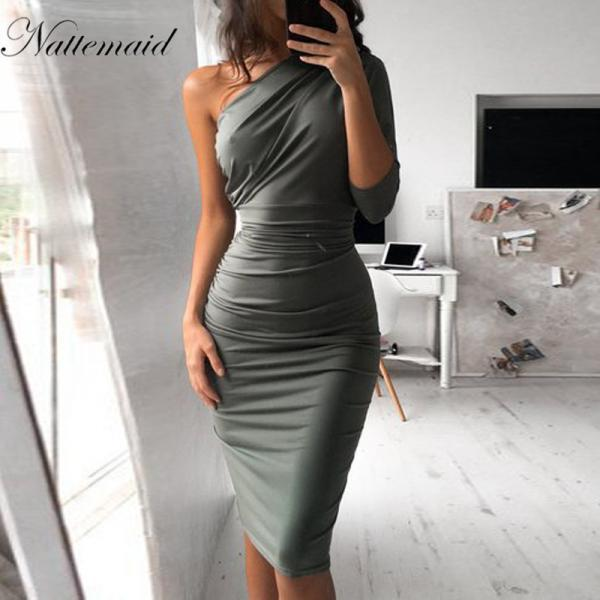 Elegant One Shoulder Bodycon Dress in Grey