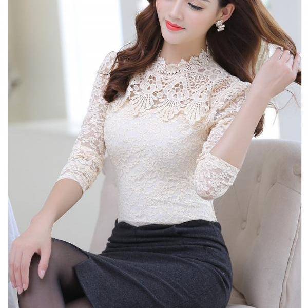 Elegant Spring Summer Long Sleeve Lace Blouse