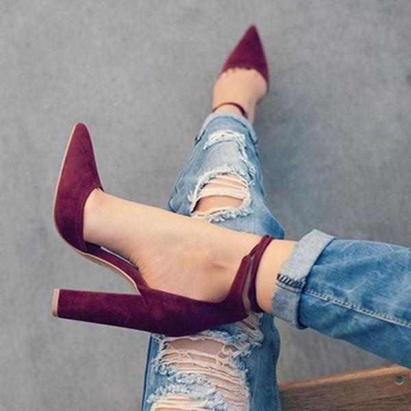 Faux Suede Pointed-Toe Ankle Strap Chunky Heels