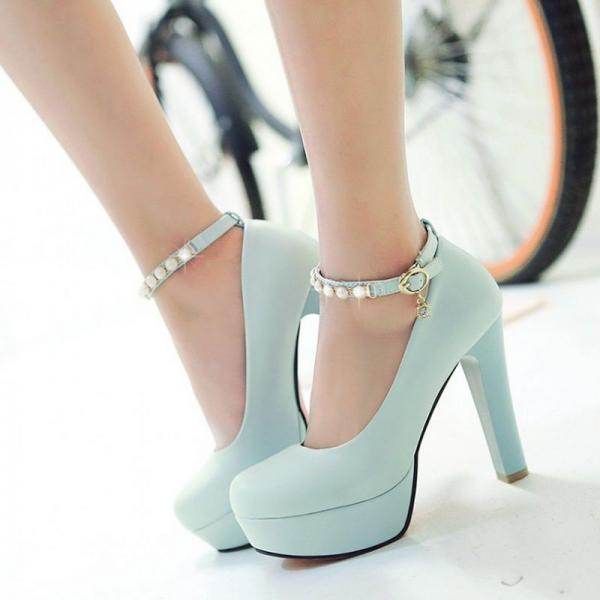 Classy Blue Pearl Beaded Ankle Strap High heels Fashion Shoes